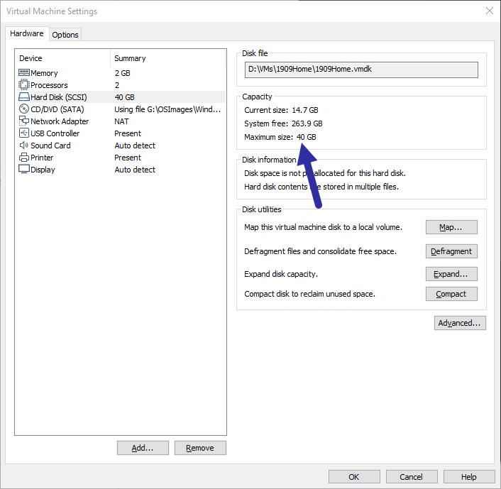 Vmware-expand-hard-disk-verify