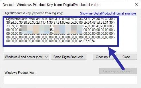 Windows 10 product key in registry - paste hex code