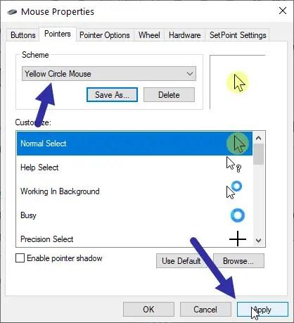 Windows cursor highlight - apply cursor