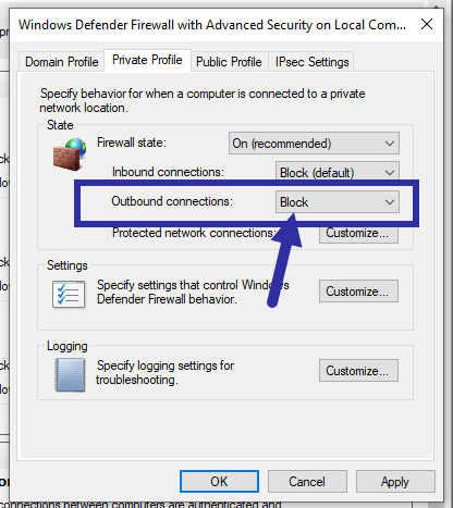 Windows firewall - block outbound connections