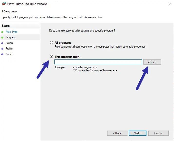 Windows firewall - browse
