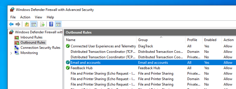 Windows firewall - find rule