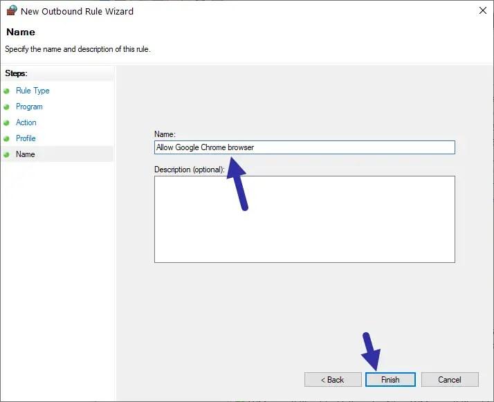 Windows firewall - name rule