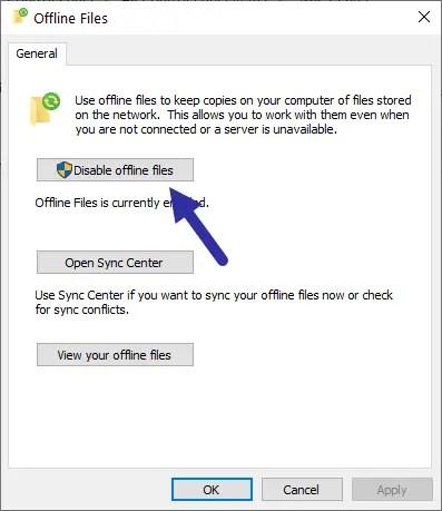 Windows sync center - disable sync center