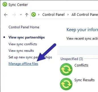 Windows sync center - manage offline files