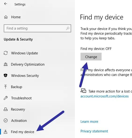Windows 10 find my device - change button