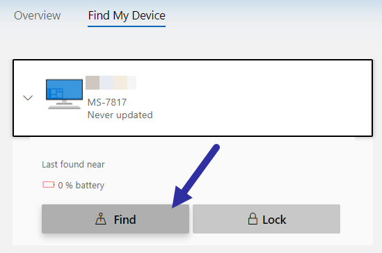 Windows 10 find my device - click find