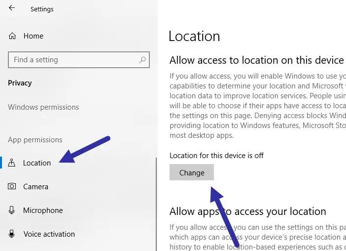 Windows 10 find my device - location change button