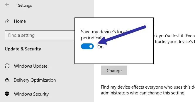 Windows 10 find my device - turn on