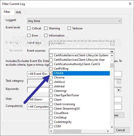 Select-chkdsk-filter-option-210620