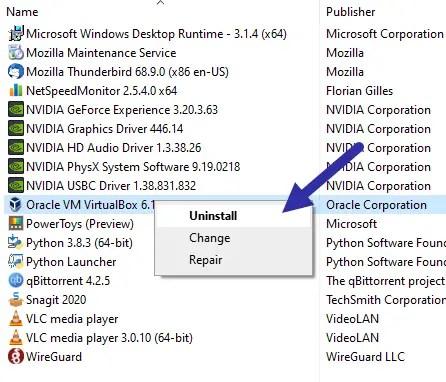 Uninstall program to fix update error 0xc1900208