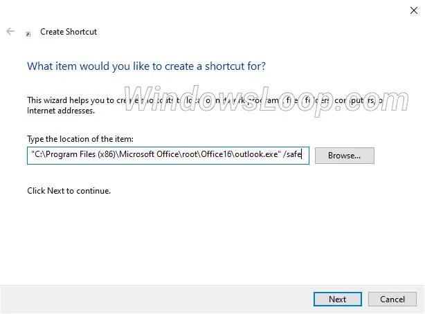 Outlook-path-to-create-desktop-shortcut-160720