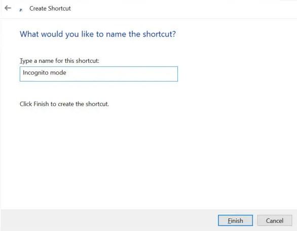 name incognito mode shortcut