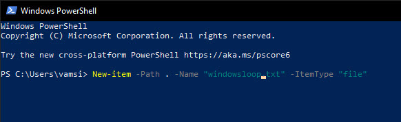 PowerShell command to create new file
