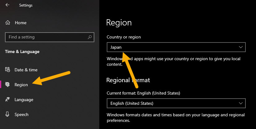 change country in Windows 10