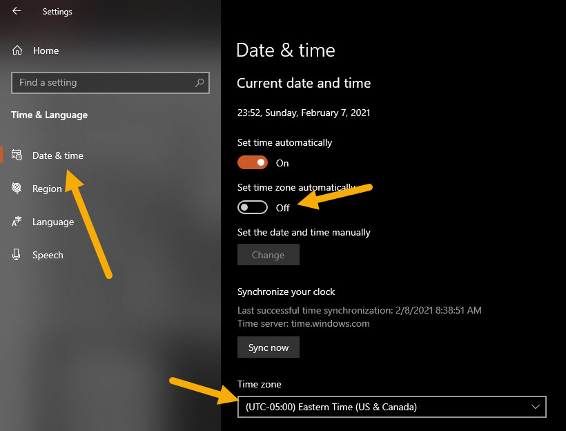 change time zone in Windows 10