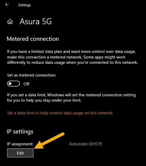 edit IP settings