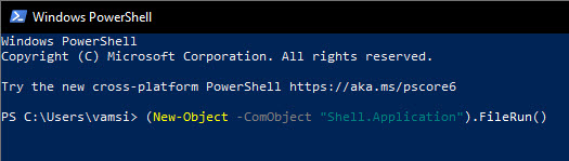 open Run using PowerShell