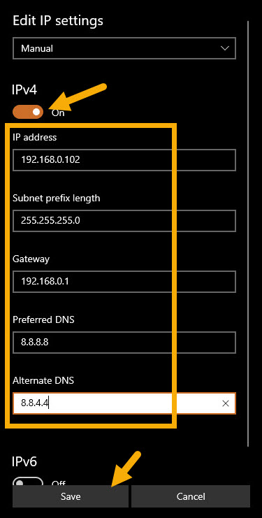 set static IP address on Windows 10