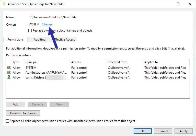 click change to take ownership of folder or file