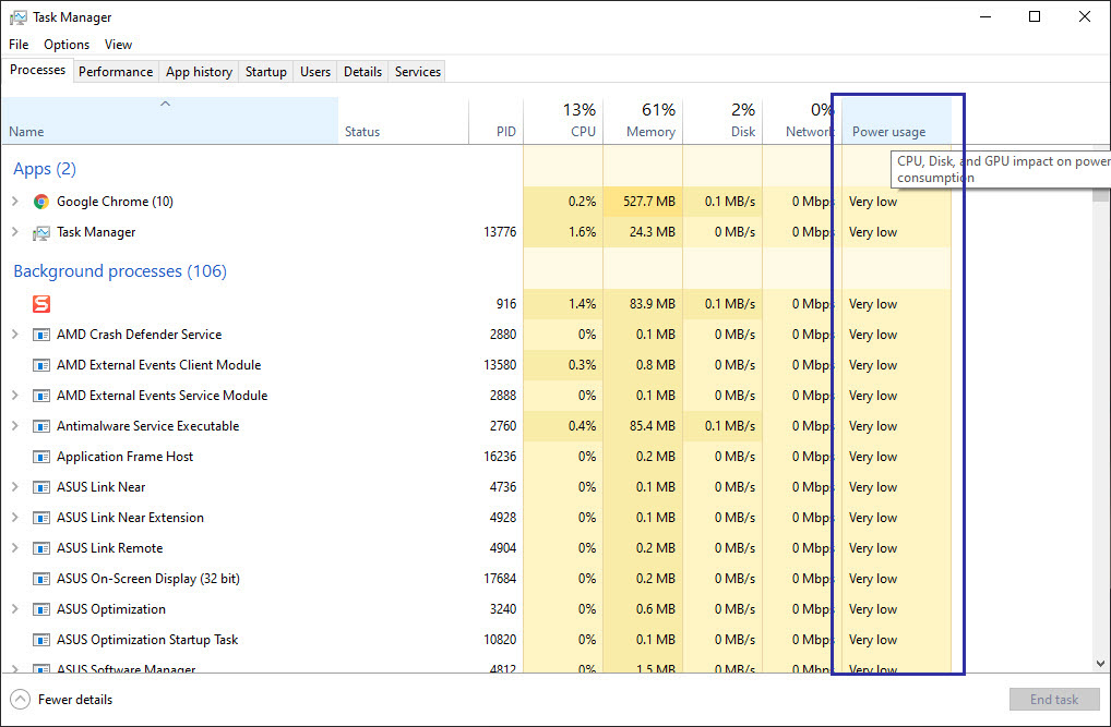 show power usage in task manager