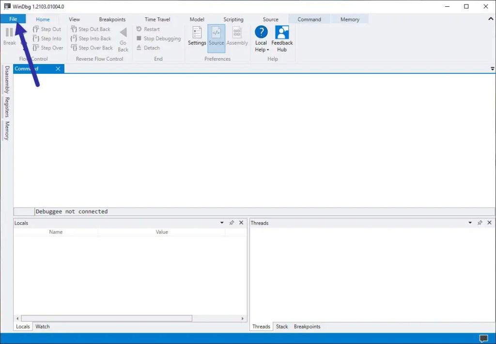 click file in WinDbg