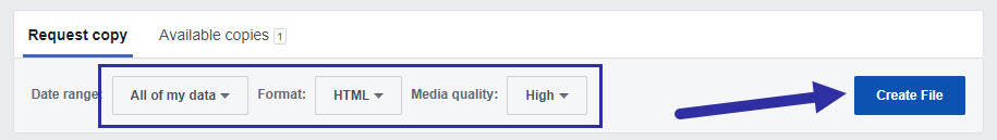 create your facebook information