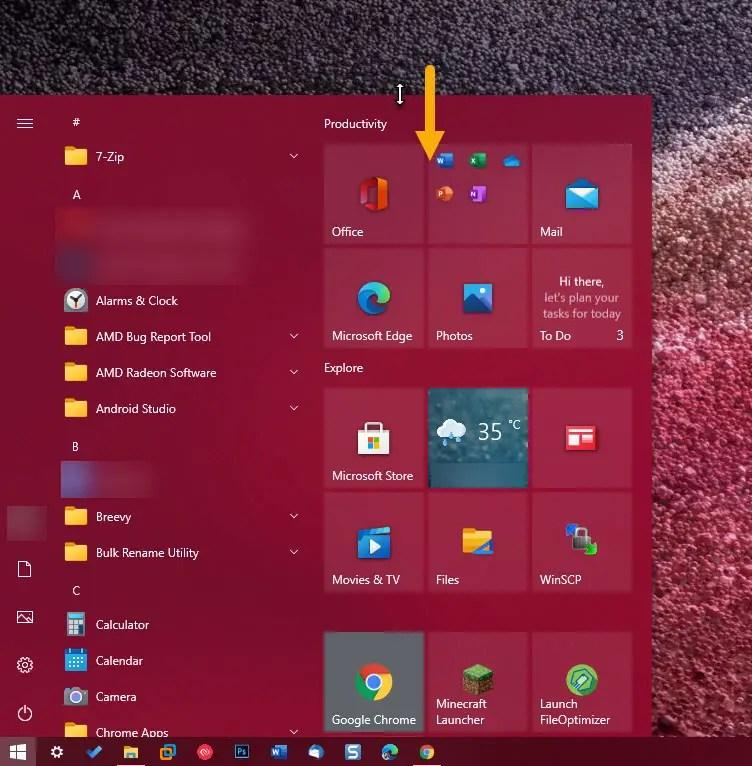 decrease Start menu size vertically