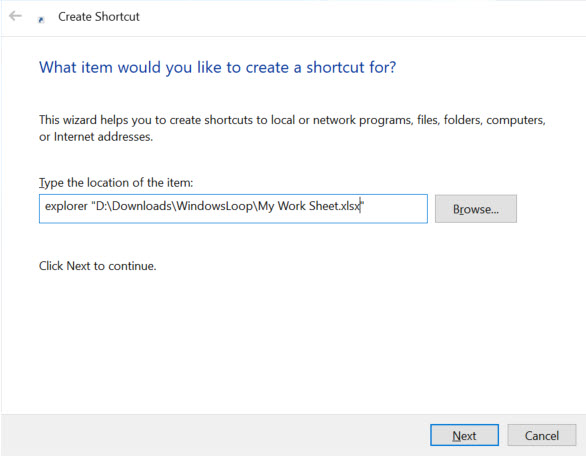 excel file path