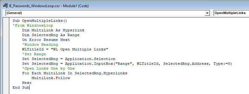 vba script to open multiple links at once from Excel