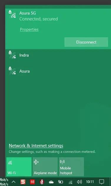click network properties