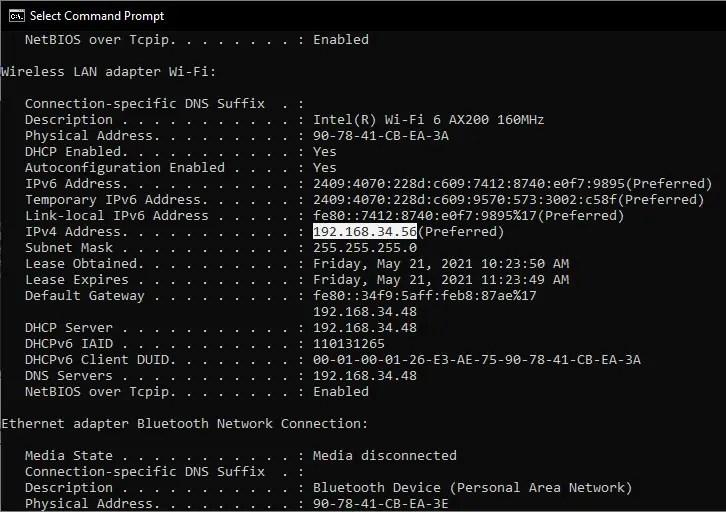 IPConfig command to get IP address