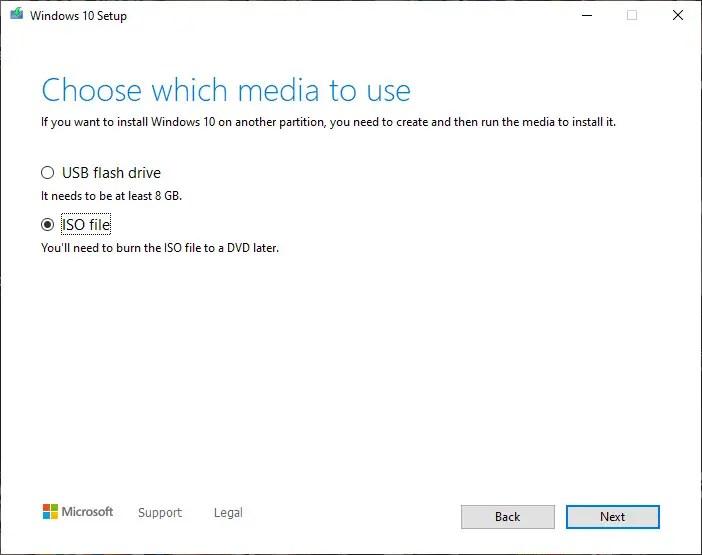 select iso file option