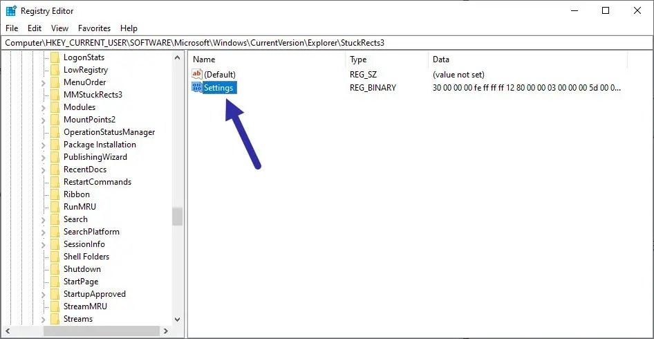 open taskbar settings registry value