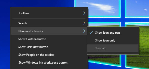 disable or remove News and Interests on Taskbar