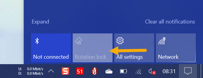 rotation lock greyed out in notification center