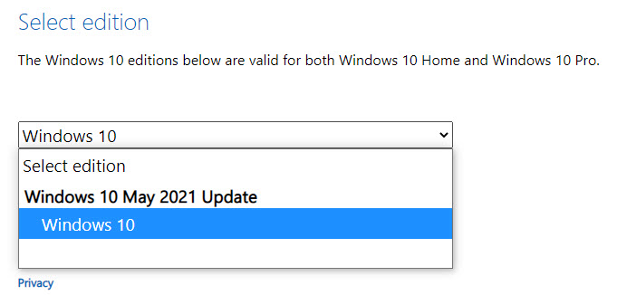 select Windows 10 may 2021 edition