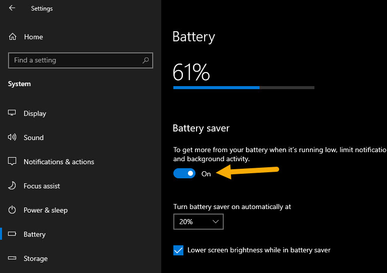 turn on battery saver