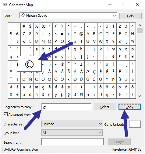 type special characters in Windows 10 with built-in Character Map tool