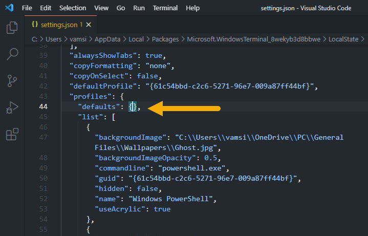 Windows terminal settings json file
