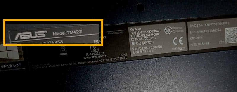 laptop model number on the sticker