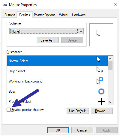 disable pointer shadow