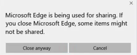 Microsoft edge is being used for sharing message