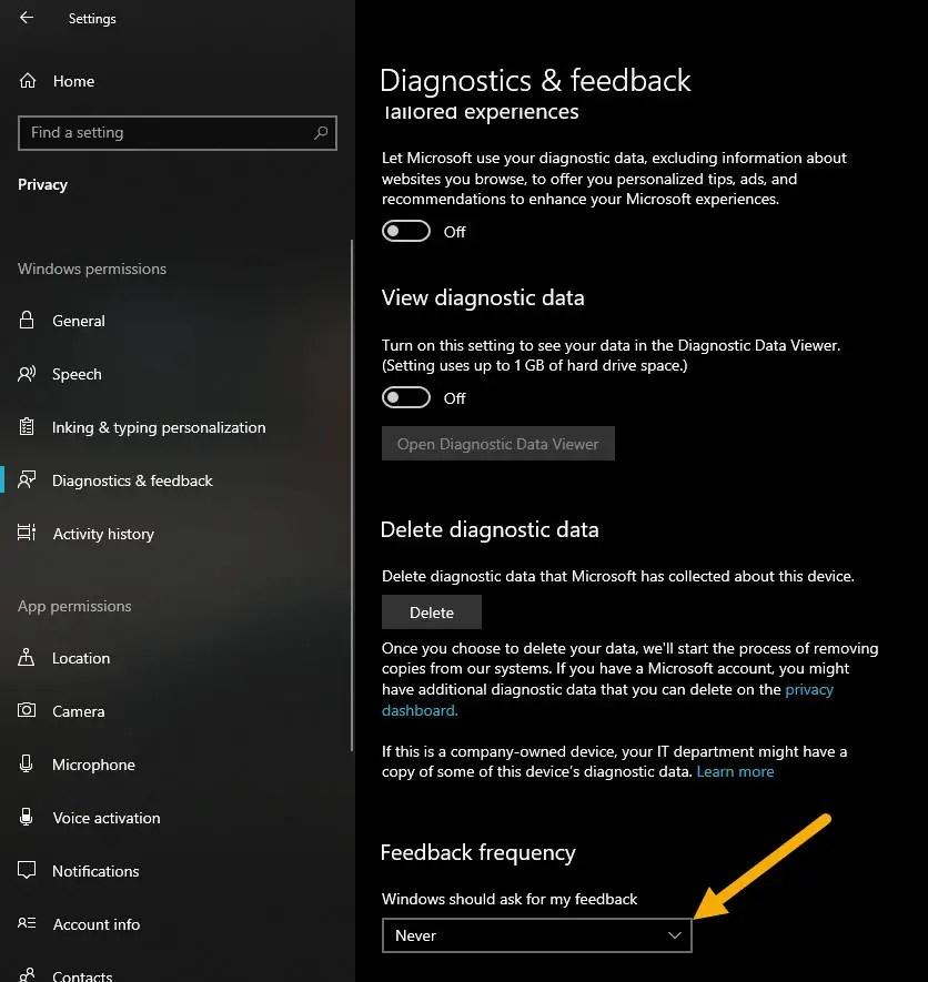 stop feedback notifications