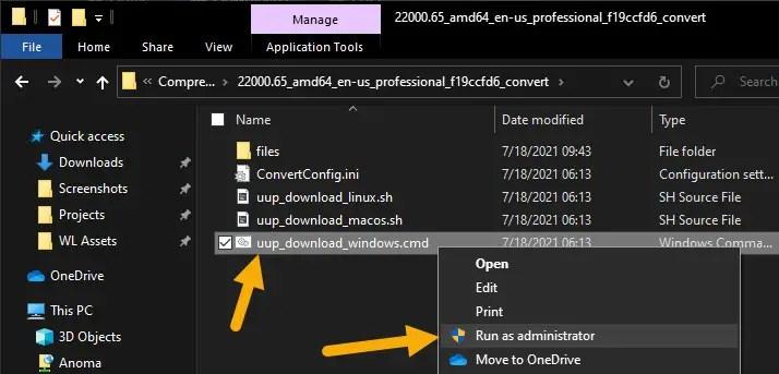 run cmd script to download Windows 11 iso