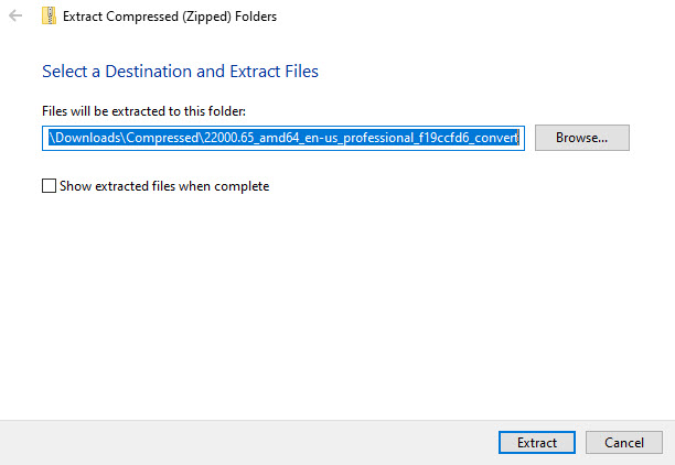 select location to extract the zip file