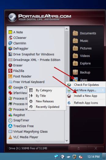 portable apps menu