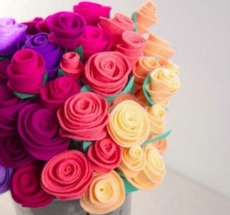 bunga dari kain flanel