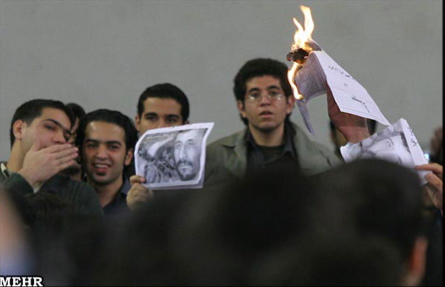 Students protesting Iranian President Ahmadinejad at Amir Kabir University in Tehran.