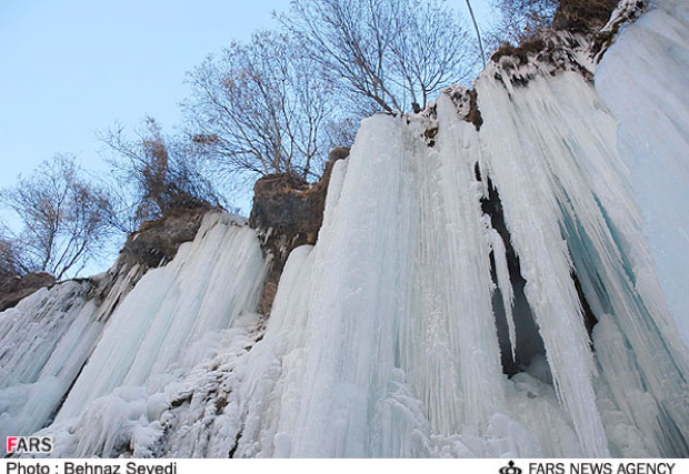 A beautiful shot of a frozen waterfall in the Khorasan province of Northeastern Iran.